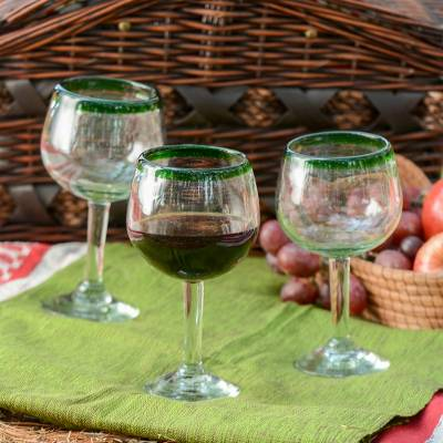 Blown glass wine glasses, Lime Globe (set of 4)
