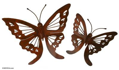 Iron wall adornments, 'Butterfly' (pair) - Steel Monarch Wall Sculptures (Pair)