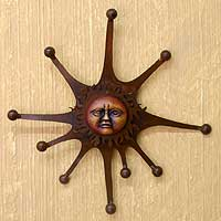 Iron and ceramic wall adornment, 'Royal Sun' - Handcrafted Sun and Moon Steel Wall Sculpture