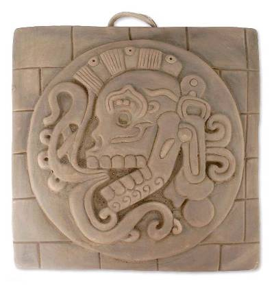 Ceramic Wall Plaque Maya Replica Mexico