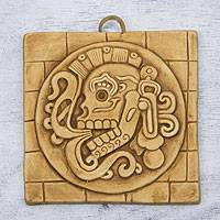 Ceramic plaque, 'Ginger Chichen Itza Skull' - Maya Skull Ceramic Plaque