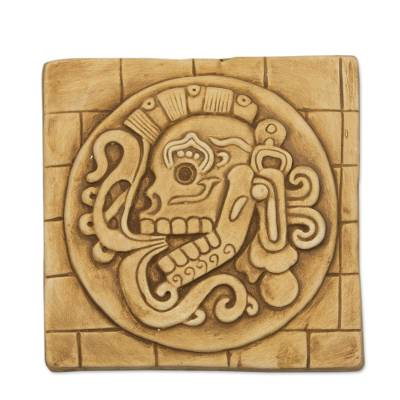 Maya Skull Ceramic Plaque