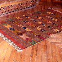 Zapotec wool rug, 'Mosaic Paths' (4x6) - Zapotec wool rug (4x6)