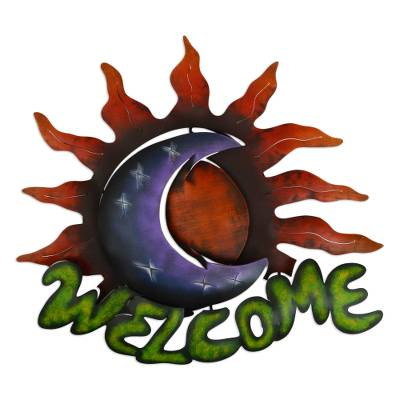 Iron welcome sign