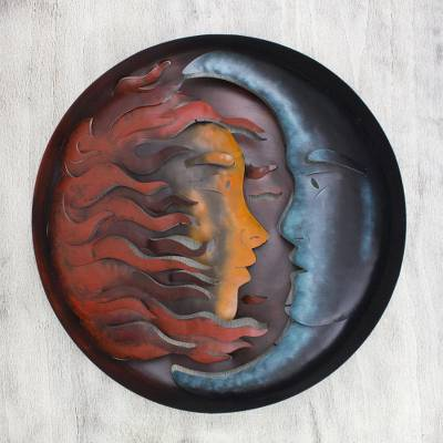 Iron wall adornment, 'Romance Eclipse' - Hand Made Sun and Moon Steel Wall Art Sculpture