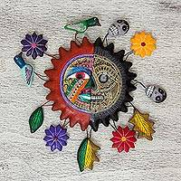 Ceramic wall sculpture, 'Duality of the Sun' - Day of the Dead Ceramic Wall Art