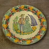 Majolica ceramic plate, 'Colonial Couple' - Majolica ceramic plate