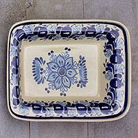 Majolica ceramic plate, 'Colonial Bouquet' - Blue Majolica Ceramic Platter Handmade in Mexico