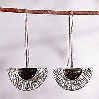 Golden obsidian drop earrings, 'Golden Gaze' - Golden obsidian drop earrings