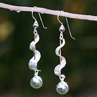 Sterling silver dangle earrings, 'Banner' - Sterling silver dangle earrings