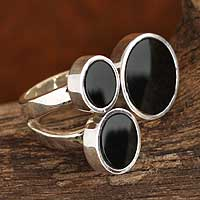 Obsidian cocktail ring, 'Ultra-Modern' - Obsidian cocktail ring