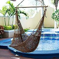 Hammock swing, 'Autumnal Bronze' - Handcrafted Mexican Solid Swing Hammock
