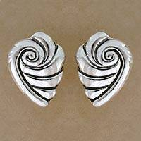 Sterling silver button earrings, 'Voices from the Sea' - Taxco Silver Seashell Button Earrings from Mexico