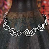 Sterling silver link necklace, 'Clouds' - Artisan Crafted Mexican Taxco Silver Statement Necklace