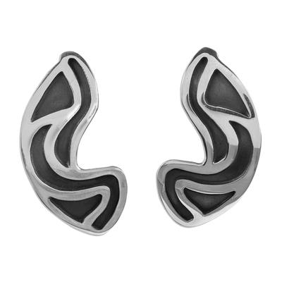 Taxco Silver Button Earrings