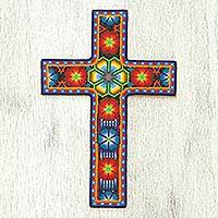 Beadwork cross, 'Huichol Vision' - Handcrafted Floral Cross from Mexico