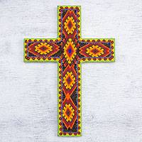 Beadwork cross, 'Eyes of God' - Beadwork cross