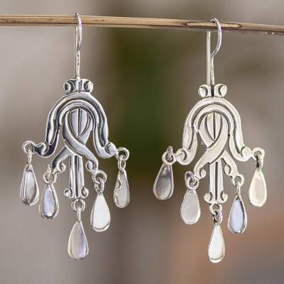 Sterling silver chandelier earrings, 'Secret Soul' - Chandelier Earrings Mexico Taxco Sterling Silver