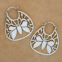 Sterling silver hoop earrings, 'Butterfly Dreams' - Sterling Silver Hoop Earrings from Mexico