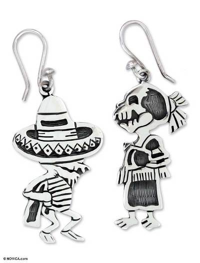 Fair Trade Taxco Silver Day of the Dead Earrings