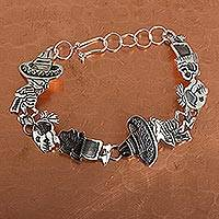 Sterling silver link bracelet, 'Skeletal Hat Dance' - Mexican Day of the Dead Sterling Silver Link Bracelet