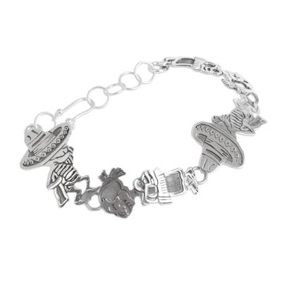 Mexican Day of the Dead Sterling Silver Link Bracelet