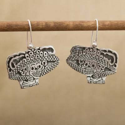 Sterling silver dangle earrings, 'Catrina Flirt' - Sterling silver dangle earrings