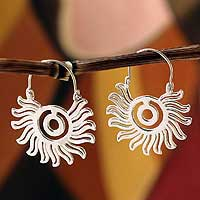 Sterling silver hoop earrings, 'Aztec Aura' - Sterling silver hoop earrings