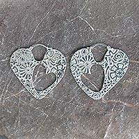Sterling silver hoop earrings, 'Hearts and Flowers'