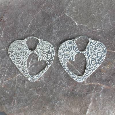 Sterling silver hoop earrings, 'Hearts and Flowers' - Sterling silver hoop earrings