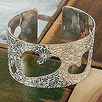 Sterling silver cuff bracelet, 'Flowers and Hearts' (Mexico)