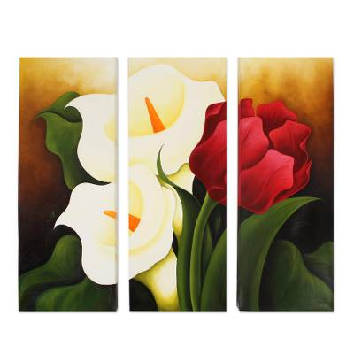 'Calla Lilies and Tulip' (triptych) - Oil Triptych Set of 3 Flower Paintings from Mexico