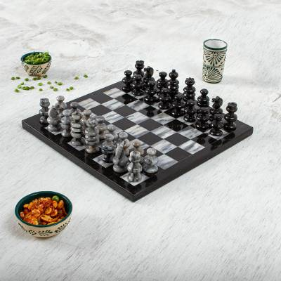 Marble chess set, 'Sophisticate' - 11 Inch Hand Carved Marble Chess Set Mexico