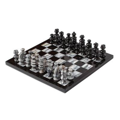 11 Inch Hand Carved Marble Chess Set Mexico
