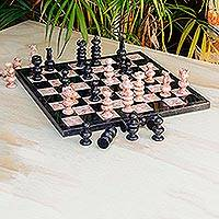 Marble chess set, 'Glorious Battle' (large) - Black and Rose Marble Chess Set