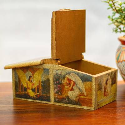 Decoupage sewing box, 'Angelical Charm' - Hand Made Angel Theme Decorative Pinewood Box