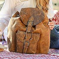 Leather backpack, 'The Highroad' - Brown Leather Travel Backpack
