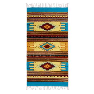 Zapotec wool rug, 'Summer Sky' (2.5x5) - Mexican Zapotec Rug (2.5x5)