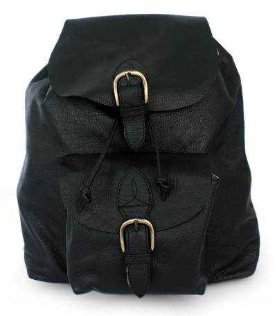 Leather backpack, 'Liquorice' - Black Leather Back Pack from Mexico