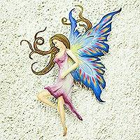 Steel wall art, 'Sapphire Fairy' - Steel wall art