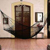 Hammock, 'Shadows' (single) - Fair Trade Black Rope Hammock (Single)
