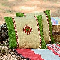 Zapotec wool cushion covers Sierra pair Mexico
