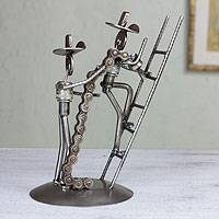 Recycled metal sculpture, 'Firefighters at Work' - Recycled metal sculpture