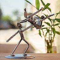 Auto parts statuette, 'Heavenly Dancers' - Unique Dance and Music Recycled Metal Sculpture from Mexico