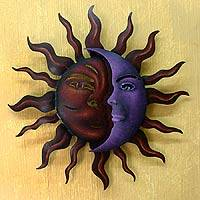 Steel wall art, 'Romantic Duality' - Unique Sun and Moon Steel Wall Art