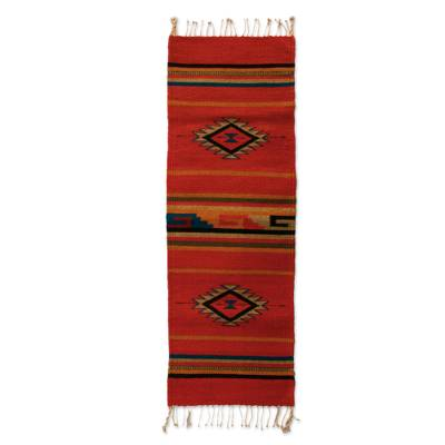 Zapotec wool rug, 'Crimson Sun' (1.5x4) - Zapotec Wool Runner 1.5 x 4 Ft Red Handmade n Mexico