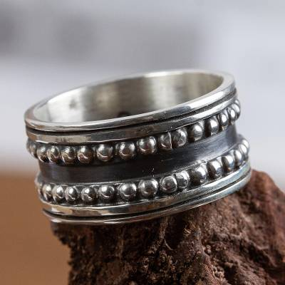 Men's sterling silver band ring, 'Sierra' - Men's Taxco Silver Band Ring