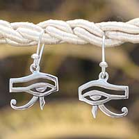 Sterling silver dangle earrings, 'Eye of Horus' - Egyptian Dangle Earrings Sterling Silver 925 from Mexico