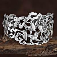 Silver cuff bracelet, 'Hummingbird Mystique' - Hand Made Fine Silver Bird Cuff Bracelet