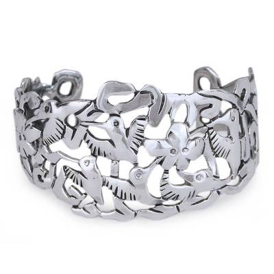 Artisan Crafted Fine Silver Hummingbird Flower Perforated Cuff Bracelet